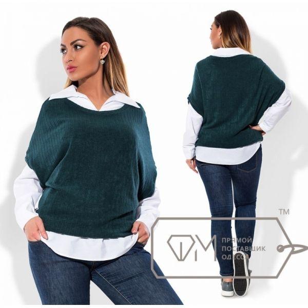 Рубашка женская большого рамера -безрукавка Х5696 морская волна