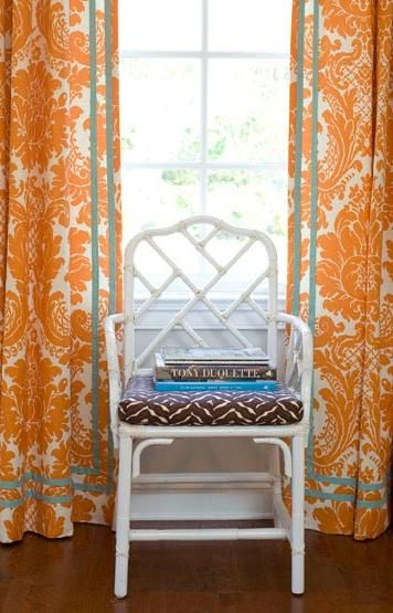 LOVE THESE orange and blue floral curtains in modern home