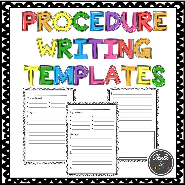 Procedure writing templates. Various levels and vocabulary. Click to see more!