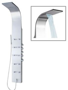 Thermostatic Shower Panel Tower System with Waterfall Head contemporary-showerheads-and-body-sprays