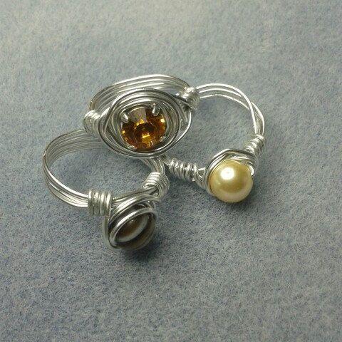 Anillos de alambre con cristal perlas piedras por 2bebisuteria