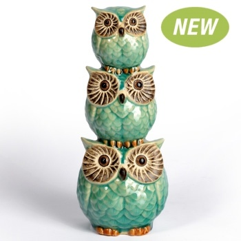 Decorative Ornament - Ceramic 3 Standing Owls from Earth Homewares