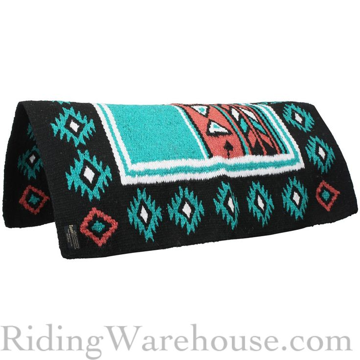 New Zealand Wool Horse Saddle Blanket Pad with arrows and tribal pattern. Comes in turquoise, coral, purple and brown. Would even make a cute rug! #western #navajo