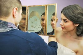 """Conceptual mirror by Alexander Awe - the beautiful vintage wooden box with two doors opening which a happy gift's owner will see his reflection through your portrait engraved on the mirror. On the side mirrors it is engraved """"It is a miracle to meet a person in whom you may see yourself…"""". This gift can be presented to a man or woman. This is one of the most deep and conceptual gifts in the collection of Alexander Awe. On photo the text is in Russian, however, it is possible to make this…"""