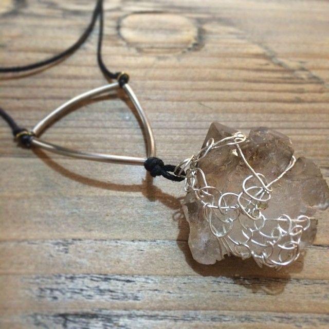 "@Somsri's photo: ""Wire woven smoky quartz necklace on long leather cord."" #jewellery #handmade #jewelry #necklace #crystals #somsri #gemstone #smokeyquartz #quartz #silver #wirewrapped"