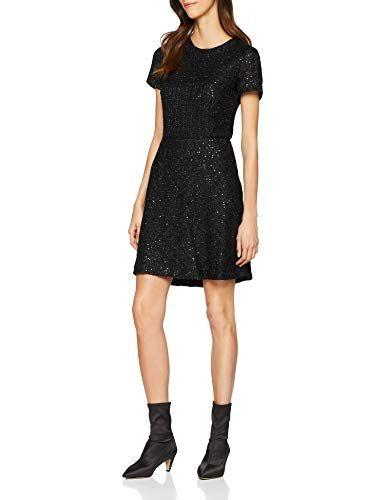 ESPRIT Damen Kleid 118EE1E007 Schwarz (Black 001) 38   Kleider für ... e272ec83d9