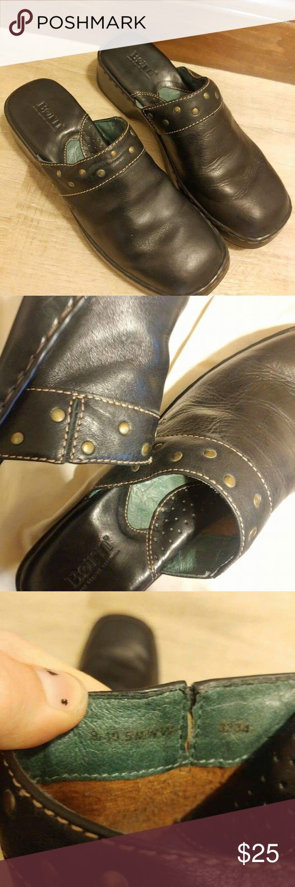 Born size 9 black mules clogs Born black size 9 mules clogs. Worn condition. Please be aware before purchase. Has scratches. Born Shoes Mules & Clogs