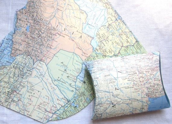 Pillow Box, DIY/KIT, Favor Box, Map Theme, Map Pillow Box, Destination Wedding, Shipped Flat,From Real Vintage Maps, Map Wedding, Map Favors, gender reveal party, bon voyage party, gift box  >>>>>>>>>>>>>>>>>>>>>>>>>>>>>>>>>  Set of DIY/KIT/YOU ASSEMBLE Pillow Boxes made from maps  You choose your number at checkout, in quantities of 10  -Made from your choice of real vintage maps...