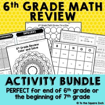 6th Grade Math Review Activities Middle School Math