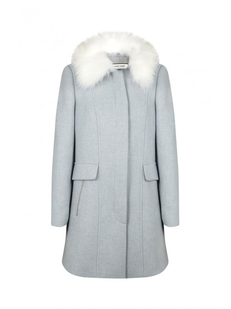Naf naf nouvelle co h15 manteau col fourré avec fermetures zippées nuage 1