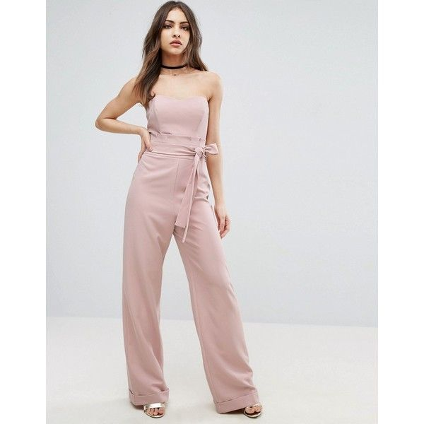 ASOS Bandeau Jumpsuit with Paperbag Waist Detail (99 CAD) ❤ liked on Polyvore featuring jumpsuits, pink, asos, tall jumpsuit, pink jumpsuits, jump suit and bandeau jumpsuit