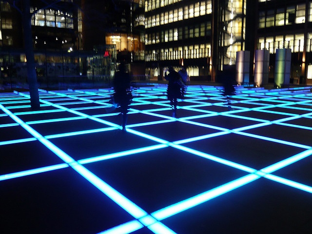"""""""Finsbury Avenue Square, London: As night falls, environmentally-friendly LED lights illuminate Finsbury Avenue Square in London's Broadgate business district. The installation was originally commissioned to add more allure and pizazz to the once unassuming space. Welcome to one of London's most exciting public spaces."""""""
