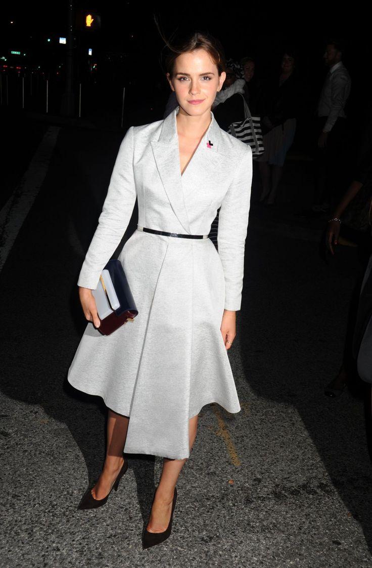 Emma Watson at HeForShe campaign laugh wearing a Dior coatdress