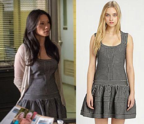 Elementary season 2, episode 9: Joan Watson's (Lucy Liu) THankoon Addition Fit and Flare drop waist dress #elementary #getthelook #joanwatson