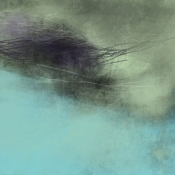 Dessin oeuvre sur papier vert jade mauve gris art abstrait