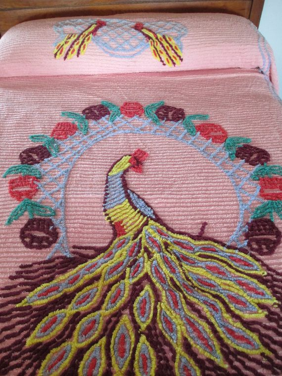Vintage Peacock Chenille Bedspread Pink Purple 86 by AStringorTwo, $64.00