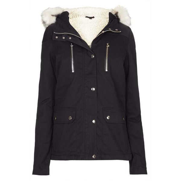 TOPSHOP Short Parka Jacket (2.875 UYU) ❤ liked on Polyvore featuring outerwear, jackets, topshop, coats, coats & jackets, black, topshop jackets, topshop parka, short parka and short parka jacket