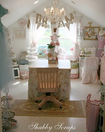 Shabby chic sewing room...I would love this, but it wouldn't stay this neat!!!