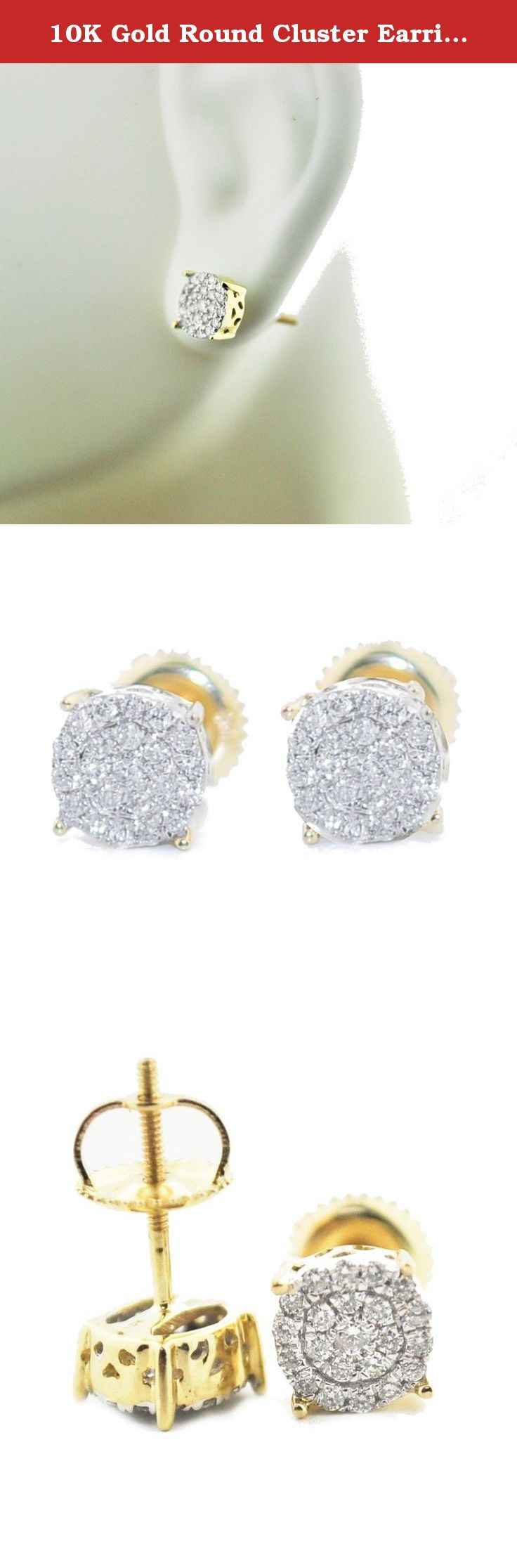 10K Gold Round Cluster Earrings 7mm Wide Screw Back 1/5cttw Diamonds. 10K Gold Round Cluster Earrings 7mm Wide Screw Back 1/5cttw Diamonds Item Type: stud-earrings Metal Type: 10k yellow gold Gem Type: White-diamond for Men Stylish pave set diamond stud earrings with screw back real gold and real diamond earrings collection by IdealCutGems images are enlarged to show product details, all measurements are approximate values, 90 days warranty on all items a4.