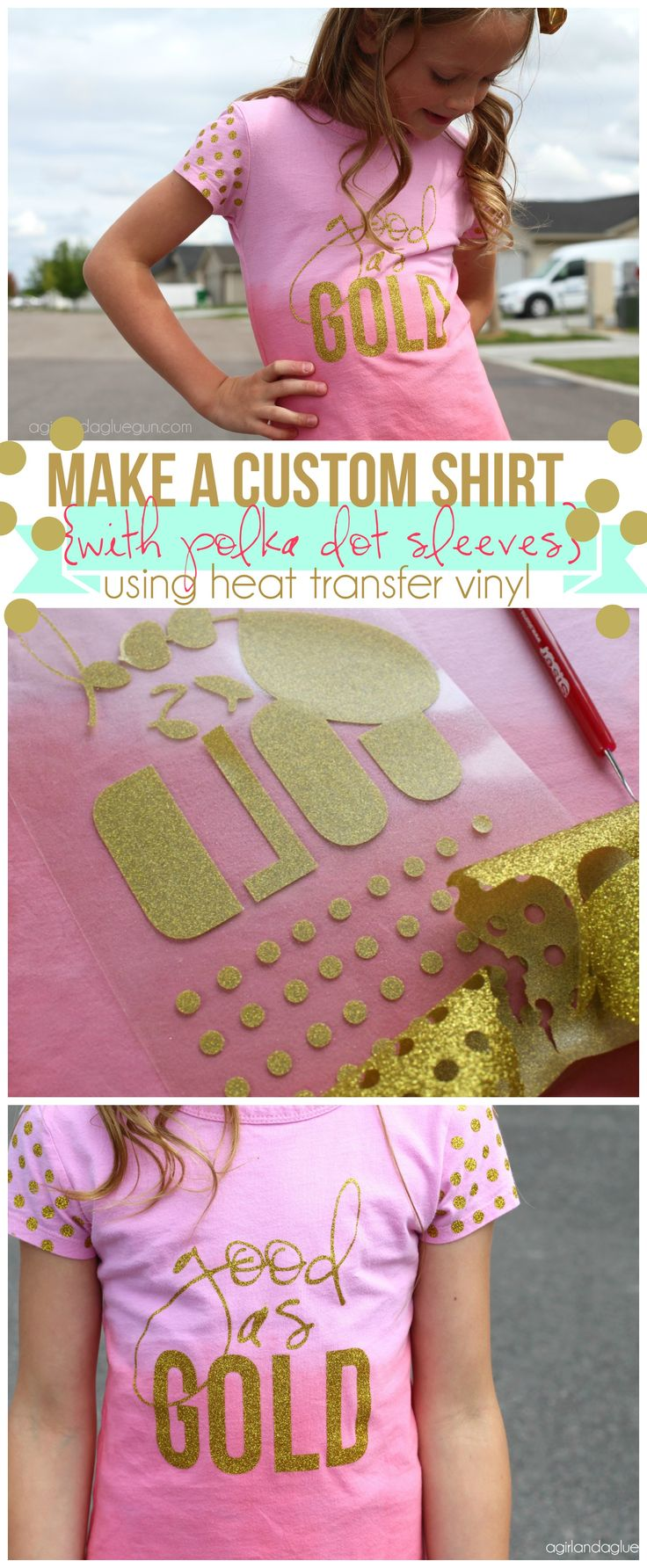 diy a custom shirt with polka dot using heat transfer vinyl