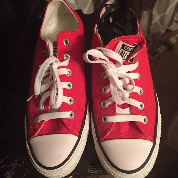 CHUCK TAYLOR ALL STAR PRO OX (RED / WHITE / BLACK) Chuck Taylor's are Unisex. Size 7 in Men and Size 9 in Women. Can be worn with black or white shoestrings. Black Shoestrings included with Converse box. Worn once. Perfect condition. Like new. Converse Shoes Sneakers
