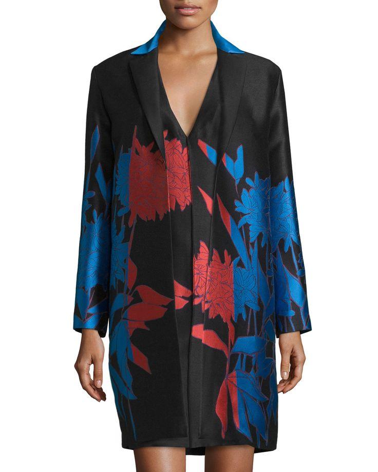Open-Front Floral-Print Jacket, Cayenne/Black/Blue, Women's, Size: 4, Red/Black/Blu - Carolina Herrera