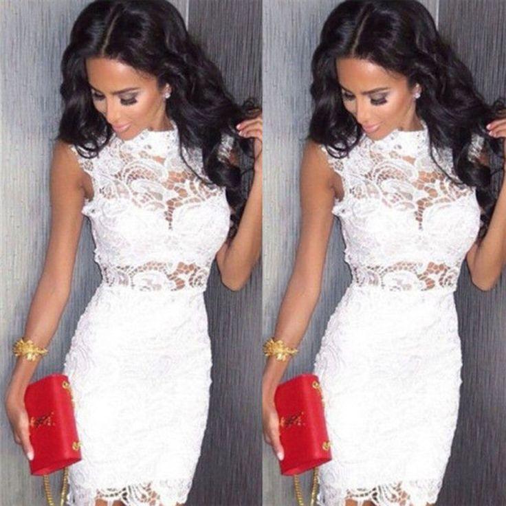 Sommerkleid Maxikleid Abendkleider Strandkleid Mini Kleid Weiß Gr.34 36 38 40 42