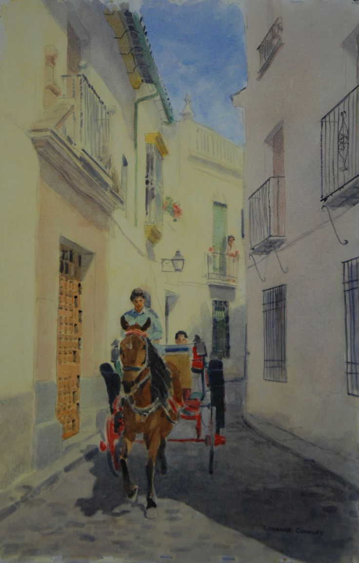"""Spanish Horse and Carriage 19""""x26"""" Watercolor"""