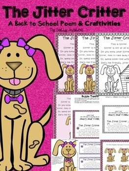 The Jitter Critter is the perfect poem to help your students forget about their first day jitters. I tell my students that a critter is a living creature.  Whats the living creature that most kids adore? Dogs!  My firsties loved this poem and the play dough helped them calm their nerves on the first day of school!