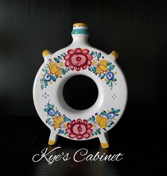 Modra Slovakia Pottery Flask Hand Painted Floral Pottery