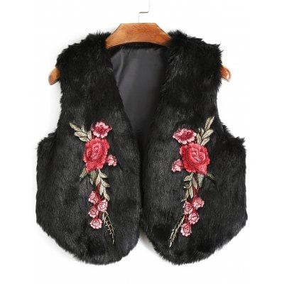 Just US$20.26 + free shipping, buy Black Flower Applique Cropped Faux Fur Waistcoat online shopping at GearBest.com.