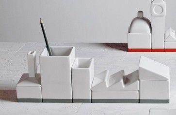 The Warehouse Porcelain Desk Organizer Set - eclectic - desk accessories - Seletti
