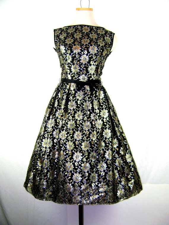1950s  1960s Party Dress  Full Skirt Dress in by ragsfeathers, $120.00
