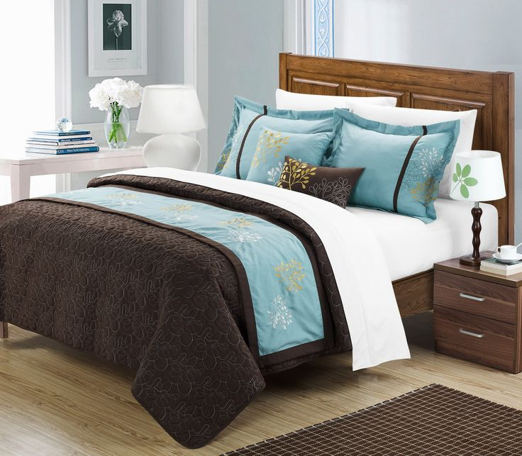Hotel bedding inspired, this 6 pcs quilted coverlet, with embroidered runner give you the 2 looks you want in just one configuration. The coverlet is a simple tone on tone all over embroidery. The runner features an embroidery pattern which is removable. Embroidered accent pillows add attention to detail from every aspect. Brown over blue tones add simplicity yet elegance. This 6-piece lavish coverlet set comes with everything you need to do a complete makeover for your master or guest…