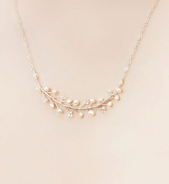Delicate Bridesmaid Freshwater Pearl Branch Necklace