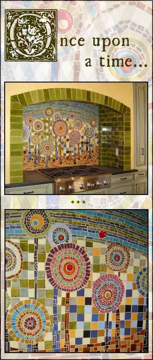 LOVE this mosaic backsplash made by Mercury Mosaics. It was inspired by a German artist called Hundertwasser.