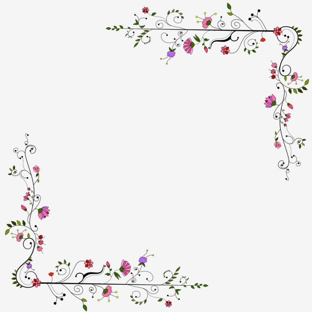 New Floral Design Png Free Download Frame Green Flower Png And