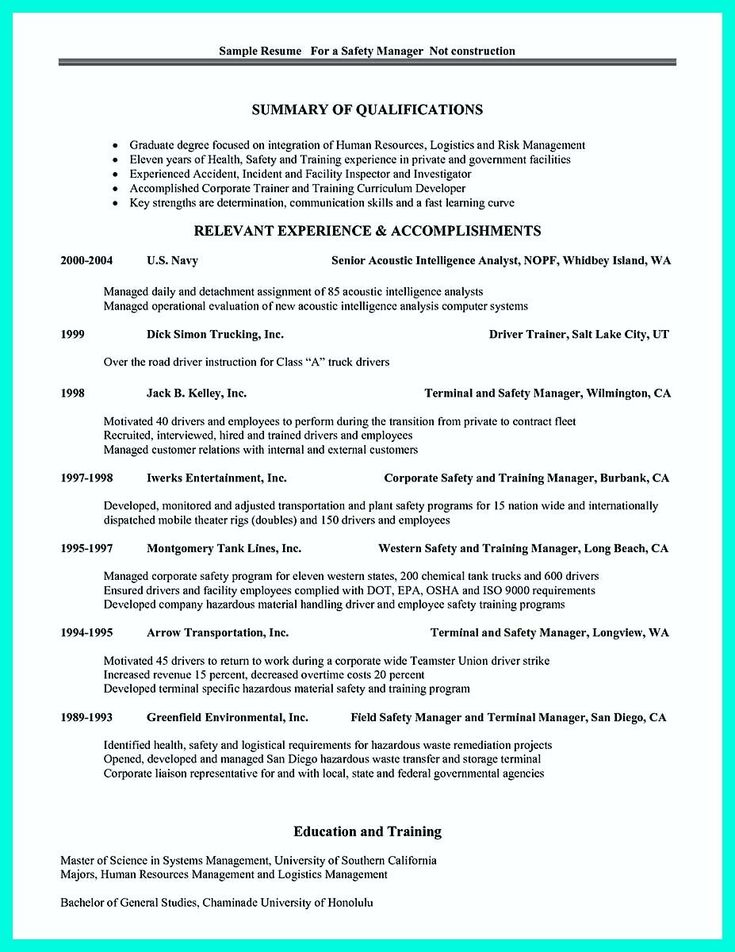 manager resume example construction sample best project