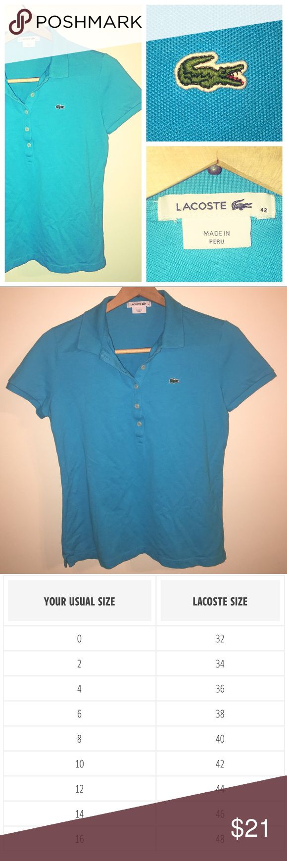 Lacoste 5-button Polo Cute Preppy Blue Polo. Goes Well With Shorts, Skirts, Or Pants. Fits M/L. In Great Condition. Lacoste Tops
