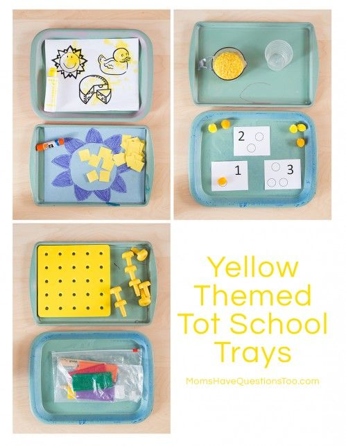 Yellow Themed Tot School Trays - Moms Have Questions Too
