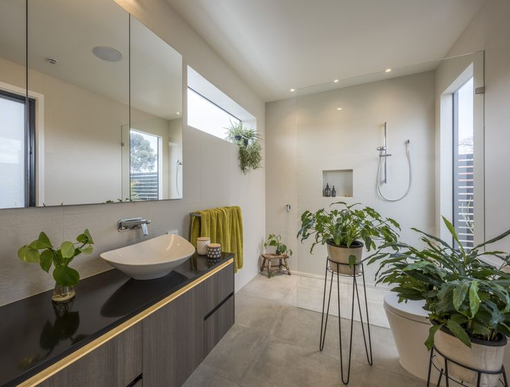 Hampton, Sustainable House, Natural Lights, Energy Saving, Modern White  Bathroom With Indoor