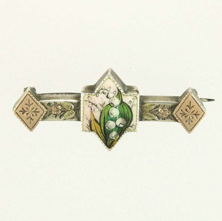 Victorian 800 Silver Gold Lily of the Valley Enamel Pin
