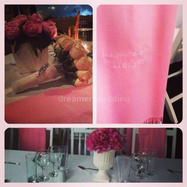 Bosphorus wedding between Asia and Europe..Pink theme objects..