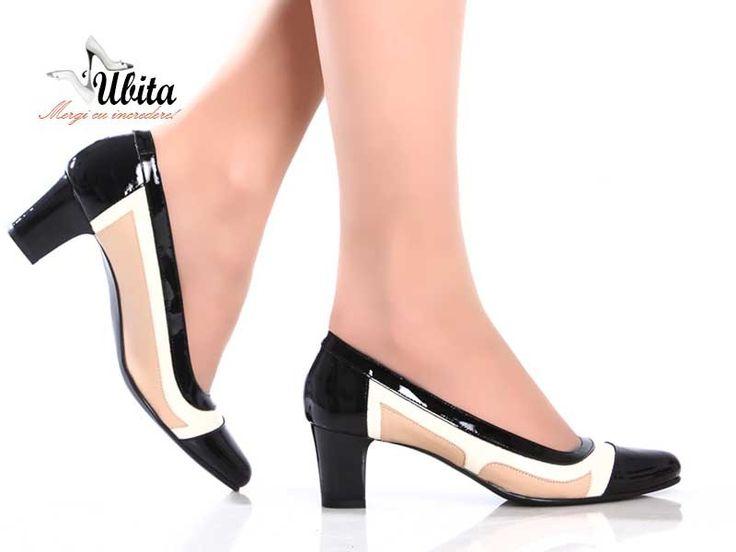Poze Pantofi din piele 100% naturala, cu toc mic Mayra