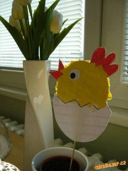 ♥♥♥Velikonoční kuřátko ... zápich do květináče♥♥♥