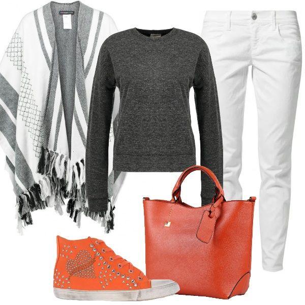 Per l'università o il tempo libero, ho scelto uno stile comodo e trendy, low cost, con jeans skinny white, felpa dark grey melange, mantella black/offwhite. Sneakers alte color arancione con borchie e strass e borsa a mano color arancia completano il look.