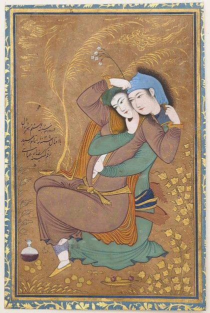 The Lovers Artist: Painting by Riza-yi `Abbasi (ca. 1565–1635) Object Name: Illustrated single work Date: dated A.H. 1039/ A.D. 1630 Geography: Iran, Isfahan Culture: Islamic Medium: Opaque watercolor, ink, and gold on paper Dimensions: Painting: H. 6 7/8 in. (17.5 cm) W. 4 3/8 in. (11.1 cm) Page: H. 7 1/2 in. (19.1 cm) W. 4 15/16 in. (12.5 cm) Mat: H. 19 1/4 in. (48.9 cm) W. 14 1/4 in. (36.2 cm) Classification: Codices