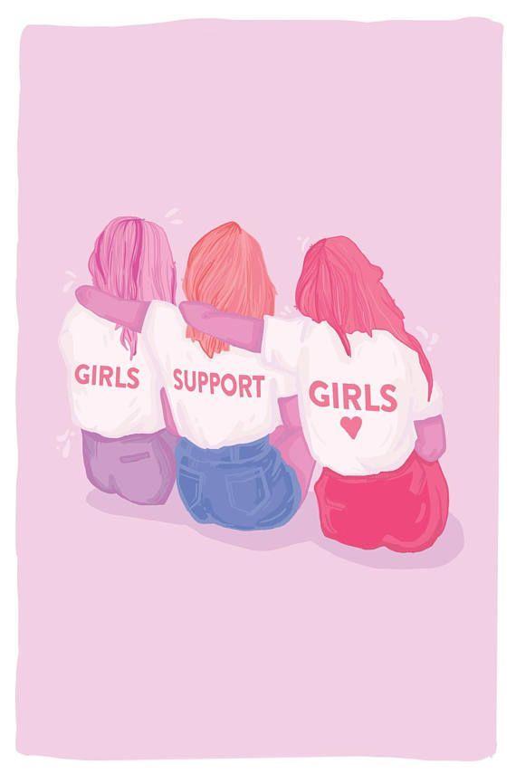 GIRLS SUPPORT GIRLS Postcard – Feminist Postcard – Feminist Artwork – Feminist Holiday Gift – Best G