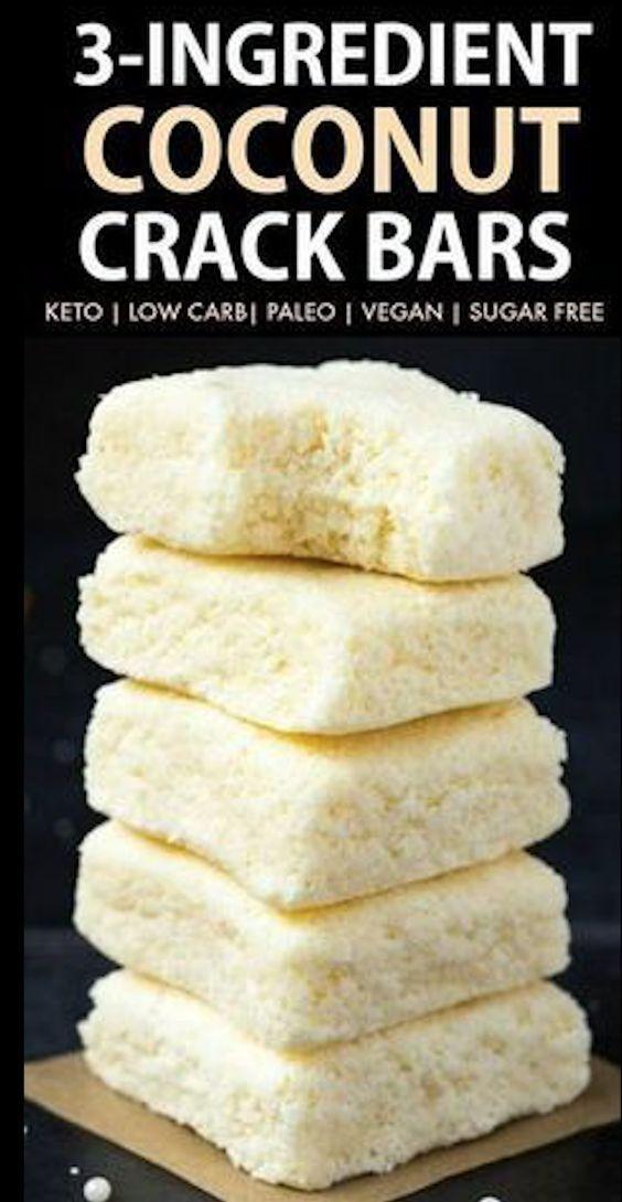 Gesunde 3 Zutaten No Bake Paleo Vegan Coconut Crack Bars