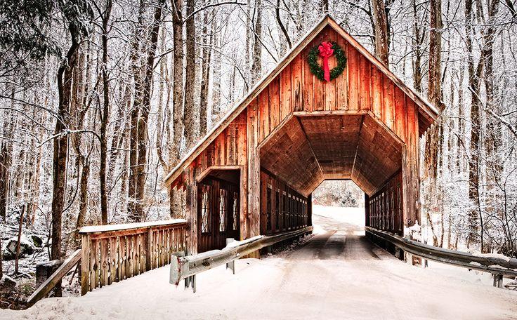 Christmas in the Smokies Emerts Cove Covered Bridge near Pittman Center